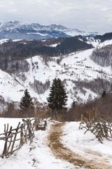 winter mountain landscape in beautiful wild county of Brasov