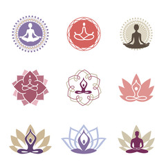 Yoga Logos / Vector yoga icons and line badges, graphic design elements or logo templates for spa center or yoga studio