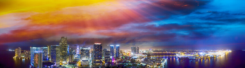 Downtown Miami at sunset, aerial panoramic view