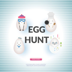 Easter poster concept with kawaii egg character