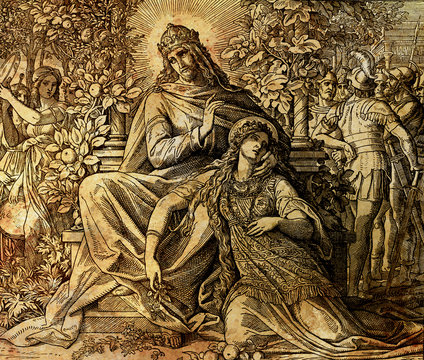 King Solomon and his love, Song of Solomon, graphic collage from engraving of Nazareene School, published in The Holy Bible, St.Vojtech Publishing, Trnava, Slovakia, 1937.