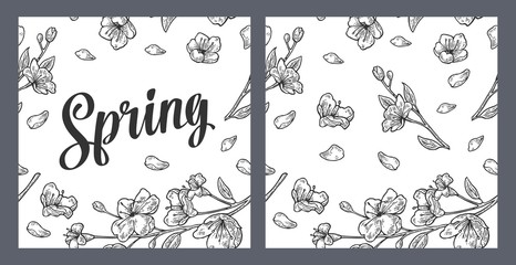 Seamless pattern sakura blossom. Cherry branch with flowers and bud.