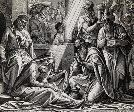 The newborn Jesus with mother Mary and three wise men, graphic collage from engraving of Nazareene School, published in The Holy Bible, St.Vojtech Publishing, Trnava, Slovakia, 1937.