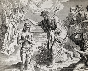 Baptism of Jesus Christ by John the Baptist, graphic collage from engraving of Nazareene School, published in The Holy Bible, St.Vojtech Publishing, Trnava, Slovakia, 1937.