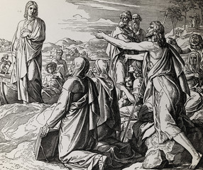 John the Baptist gives testimony about Jesus Christ, graphic collage from engraving of Nazareene School, published in The Holy Bible, St.Vojtech Publishing, Trnava, Slovakia, 1937.