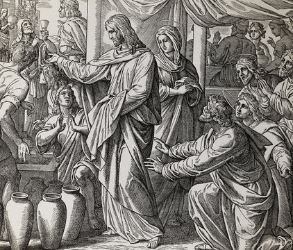 Jesus turns water into wine at Cana marriage feast, graphic collage from engraving of Nazareene School, published in The Holy Bible, St.Vojtech Publishing, Trnava, Slovakia, 1937.