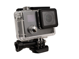 Action camera in aquafox on white background