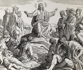 Jesus´ sermon on the mount, graphic collage from engraving of Nazareene School, published in The Holy Bible, St.Vojtech Publishing, Trnava, Slovakia, 1937.