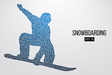 Silhouette of a snowboarder jumping isolated. Vector illustration