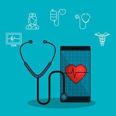 medicine online flat icons vector illustration design