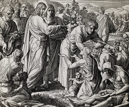 Jesus feeds the crowd with bread and fish, graphic collage from engraving of Nazareene School, published in The Holy Bible, St.Vojtech Publishing, Trnava, Slovakia, 1937.