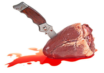 Knife in the heart on a white background