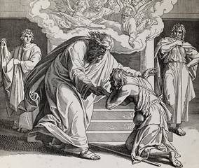 Return of the prodigal son, graphic collage from engraving of Nazareene School, published in The Holy Bible, St.Vojtech Publishing, Trnava, Slovakia, 1937.