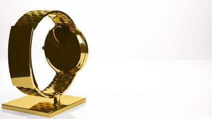 golden 3d rendering of a hand watch inside a studio