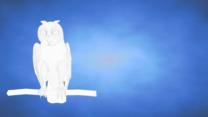 outlined 3d rendering of an owl inside a blue studio