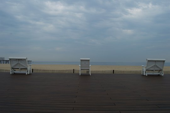 Empty Chair at the Beach in Belmar, New Jersey
