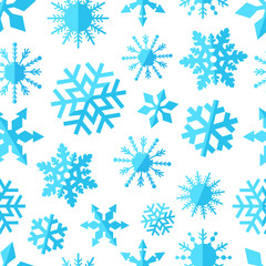 seamless pattern background with blue snowflakes flat icons on w