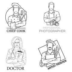 A set of logos - an artist with brushes and a palette, a professional photographer with a camera, a chef with a kitchen tool and a doctor with a stethoscope