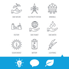 Save nature, planet and water icons. Minerals, lightning and solar energy linear signs. Battery, factory and electricity station icons. Light bulb, speech bubble and leaf web icons. Vector