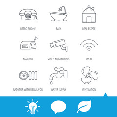 Wifi, video camera and mailbox icons. Real estate, bath and water supply linear signs. Radiator with heat regulator, phone icons. Light bulb, speech bubble and leaf web icons. Vector