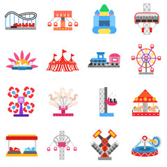 Entertainment attractions icons set. Funfair, flat design. Theme park, isolated vector illustrations