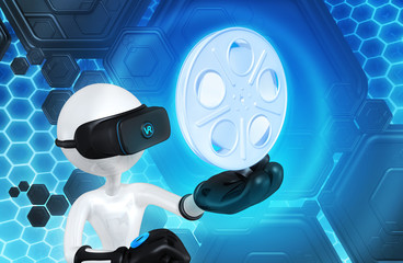 The Original 3D Character Illustration Wearing Virtual Reality Goggles With A Film Reel