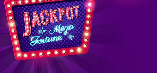 Jackpot retro banner with glowing lamps. Vector illustration for winners of poker, casino, cards, roulette and lottery. Vector illustration