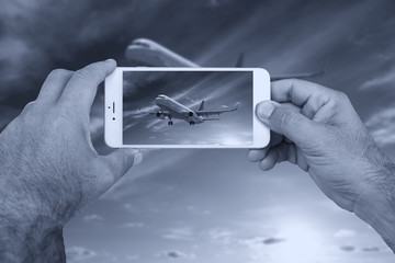 Picture of airplane from smartphon