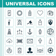 Set Of 25 Universal Editable Icons. Can Be Used For Web, Mobile And App Design. Includes Elements Such As Ladybird, Rucksack, Follow And More.