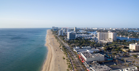 Panoramic aerial view of Fort Lauderdale on a sunny day, Florida
