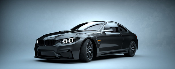 Generic brandless gray car - front view (with grunge overlay) - 3d illustration