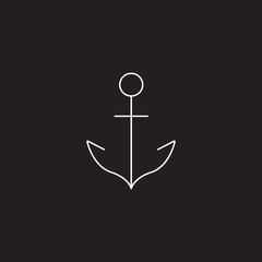 Anchor line icon, outline vector logo illustration, linear pictogram isolated on black