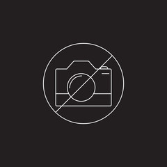 Forbidden To Use Camera line icon, outline and solid vector sign, linear and full pictogram isolated on black, No Photography logo illustration