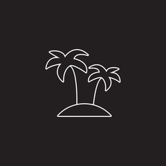 Palm line icon, outline vector illustration, linear pictogram isolated on black