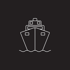 Cruise ship line icon, outline vector logo illustration, linear pictogram isolated on black