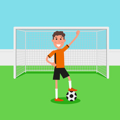 Soccer goalkeeper keeping goal on arena, Athlete with a soccer ball. Flat character in cartoon style. Vector illustration.