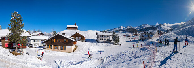Ski resort Stoss Fronalpstock. Switzerland. Wide-angle HD-quality panoramic view.