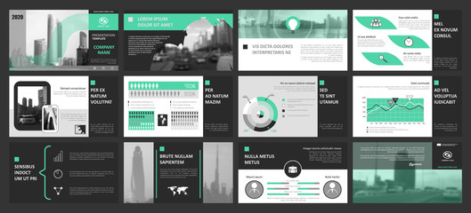 Creative set of abstract infographic elements. Modern presentation template with title sheet. Brochure design in light green, white and dark gray colors. Vector illustration. City, street image. Urban