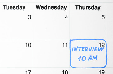 Job interview date on calendar