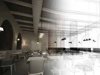 sketch design of   interior restaurant, 3d rendering