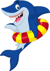 Cartoon shark with inflatable ring