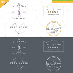set of vintage wine logo design, hand hold bottle of wine