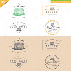 set of vintage barrel logo design, for alcohol handmade product