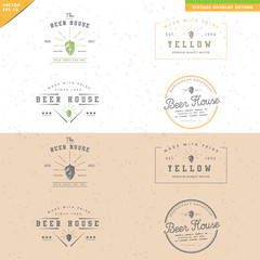 set of vintage beer logo design, black and white, texture
