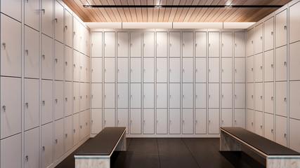 Luxury locker room in gym , 3d rendering