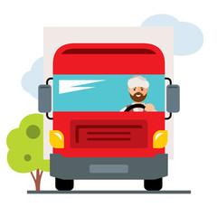Vector Arab truck driver. Flat style colorful Cartoon illustration.