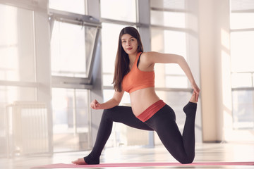 Pregnant sporty woman exercising