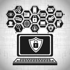 laptop technology security data vector illustration eps 10