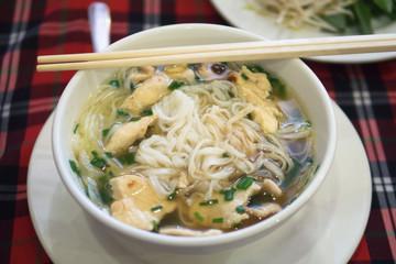 Pho vietnam white noodle hot soup vegetable