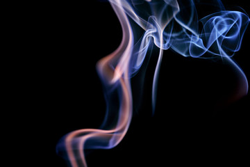 Abstract lilac blue smoke from aromatic sticks.